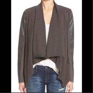BLANKNYC faux leather & knit Moto zip